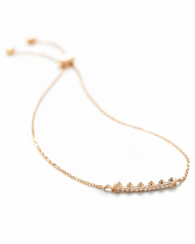 Molly Adjustable Chain Bracelet in White Diamond and 14k Rose Gold
