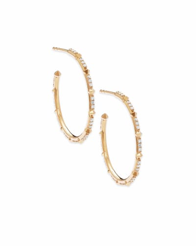 Cybil 14k Yellow Gold Earrings in White Diamond