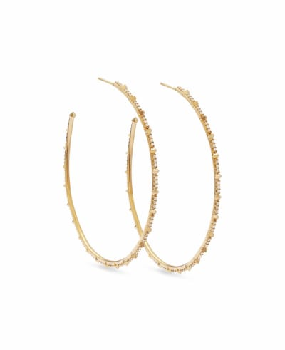 Nia 14k Yellow Gold Earrings in White Diamond