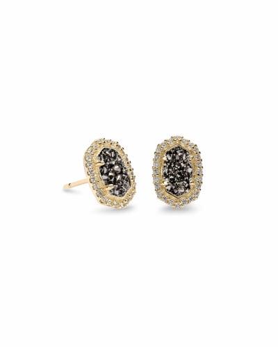 Cade Gold Stud Earrings in Platinum Drusy
