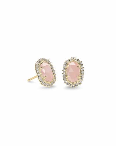 Cade Gold Stud Earrings in Rose Quartz