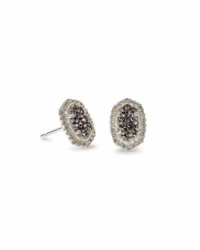 Cade Silver Stud Earrings in Platinum Drusy