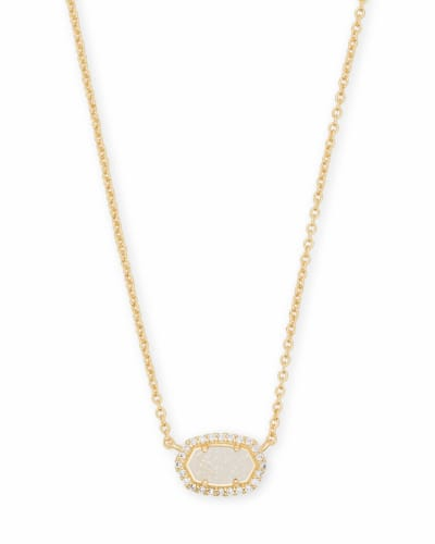 Chelsea Gold Pendant Necklace in Iridescent Drusy