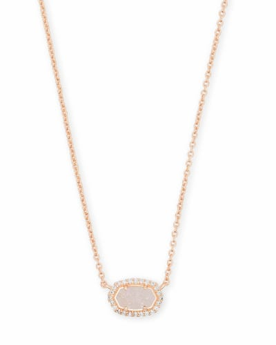 Chelsea Rose Gold Pendant Necklace in Iridescent Drusy