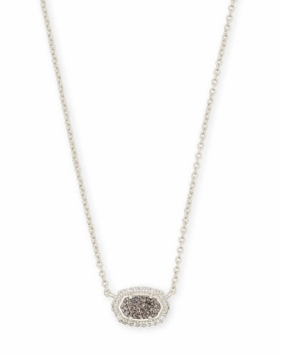 Chelsea Silver Pendant Necklace in Platinum Drusy