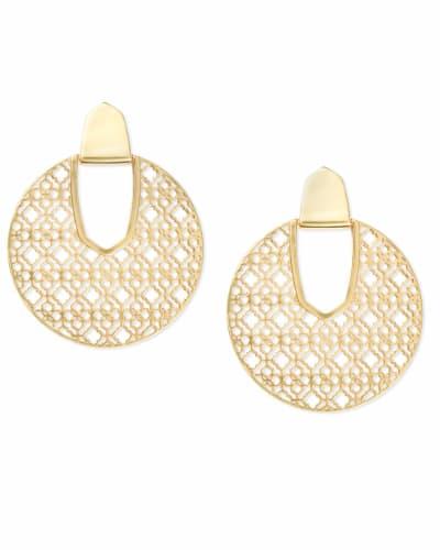 Diane Gold Statement Earrings in Gold Filigree