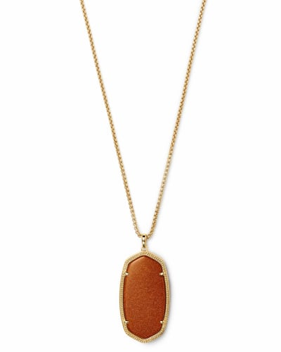 Reid Gold Long Pendant Necklace in Goldstone