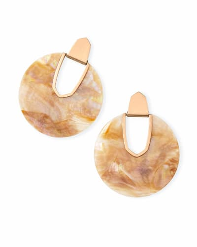 Diane Rose Gold Statement Earrings in Brown Mother-of-Pearl