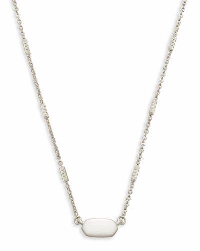 Fern Pendant Necklace in Bright Silver