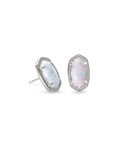Ellie Silver Stud Earrings In White Kyocera Opal