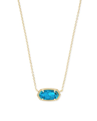 Elisa Gold Pendant Necklace in Bronze Veined Turquoise Magnesite