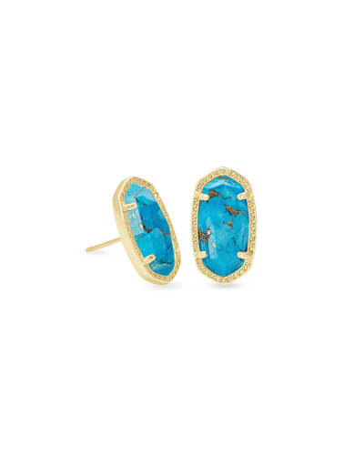 Ellie Gold Stud Earrings in Bronze Veined Turquoise Magnesite