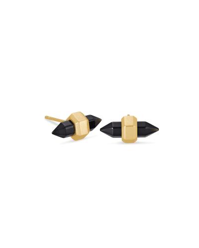 Jamie Gold Stud Earrings in Black Obsidian