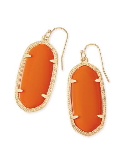Elle Gold Drop Earrings in Orange Opaque Glass