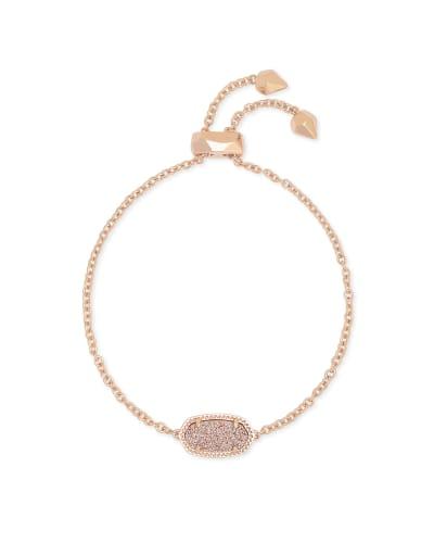 Elaina Rose Gold Adjustable Chain Bracelet in Sand Drusy