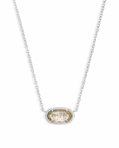 Elisa Silver Pendant Necklace in Clear Crystal