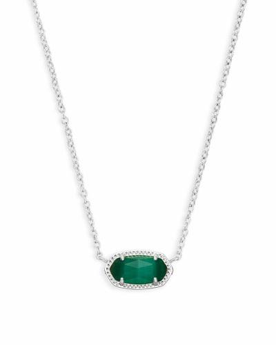 Elisa Silver Pendant Necklace in Emerald Cat's Eye
