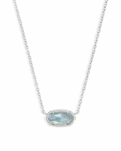 Elisa Silver Pendant Necklace in Light Blue Illusion