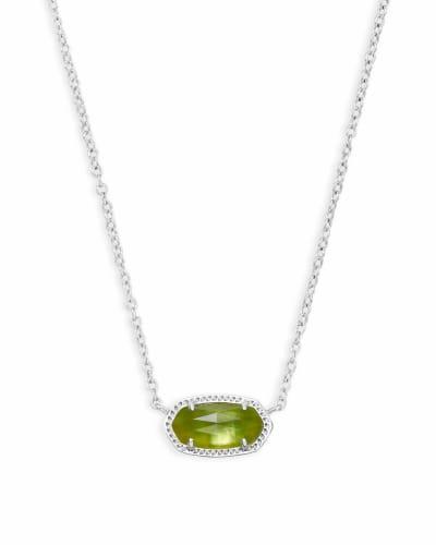 Elisa Silver Pendant Necklace in Peridot Illusion
