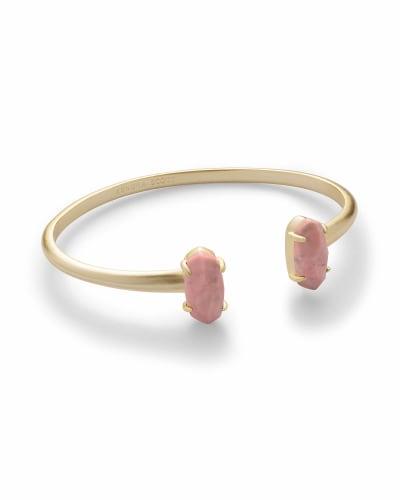 Edie Gold Cuff Bracelet in Pink Rhodonite