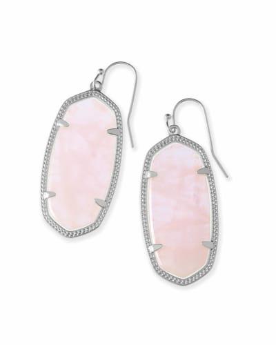 Elle Silver Drop Earrings in Rose Quartz