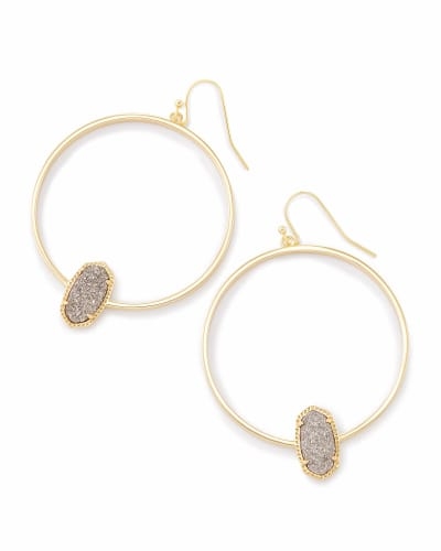Elora Gold Hoop Earrings In Platinum Drusy