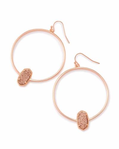 Elora Rose Gold Hoop Earrings In Rose Gold Drusy
