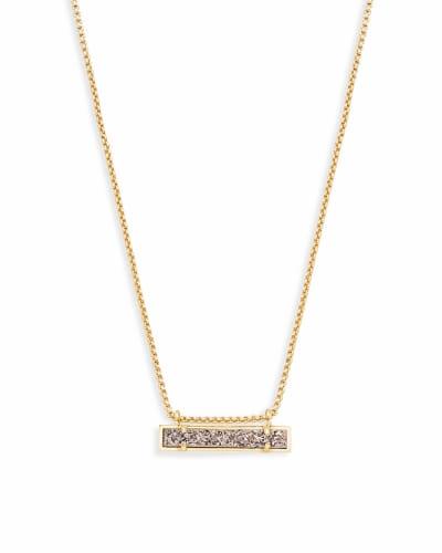 Leanor Gold Pendant Necklace in Platinum Drusy