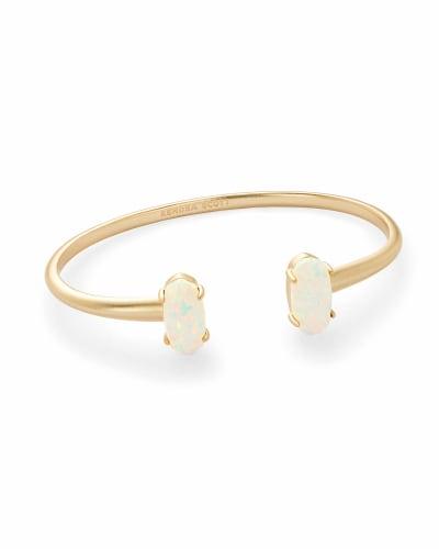 Edie Gold Cuff Bracelet in White Kyocera Opal