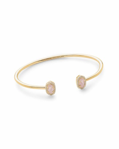 Calla Gold Cuff Bracelet in Rose Quartz