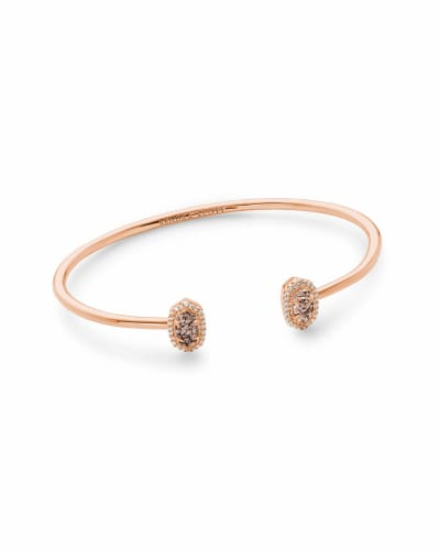Calla Rose Gold Cuff Bracelet in Rose Gold Drusy