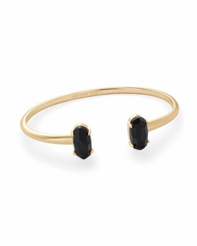 Edie Gold Cuff Bracelet in Black Opaque Glass