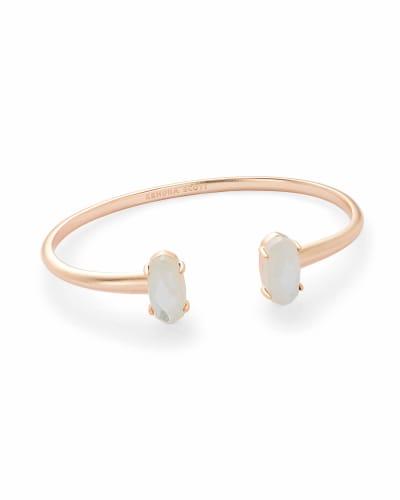 Edie Rose Gold Cuff Bracelet in Ivory Pearl