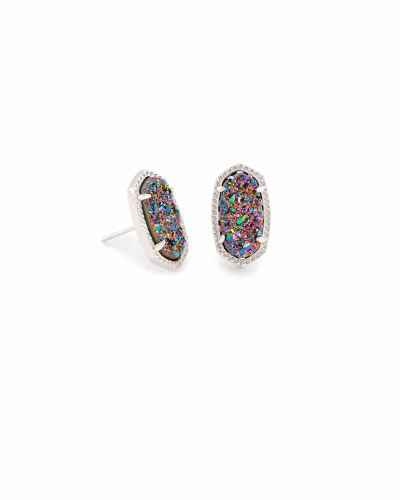 Ellie Silver Stud Earrings in Multicolor Drusy
