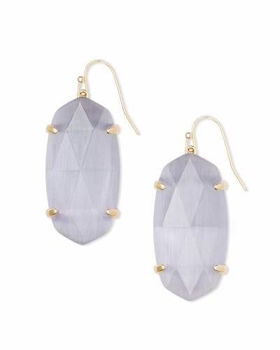 Esme Gold Drop Earrings In Slate Cats Eye