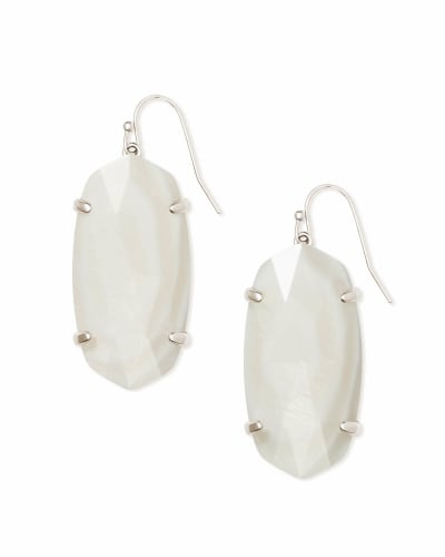 Esme Silver Drop Earrings In White Pearl