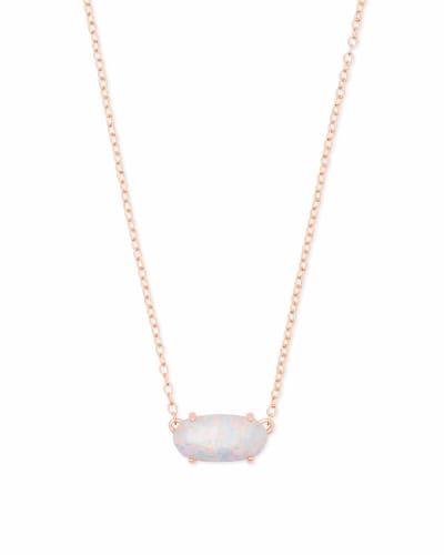 Ever Rose Gold Pendant Necklace in White Kyocera Opal