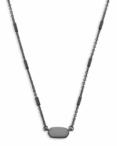 Fern Pendant Necklace in Gunmetal