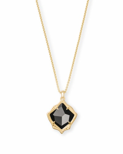 Kacey Gold Long Pendant Necklace in Black Opaque Glass