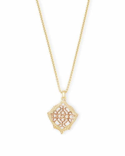 Kacey Gold Long Pendant Necklace in Rose Gold Filigree Mix