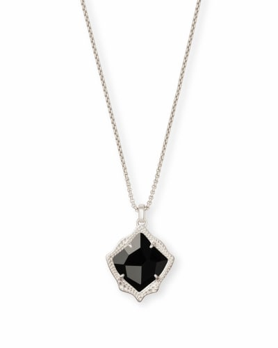 Kacey Silver Long Pendant Necklace in Black Opaque Glass