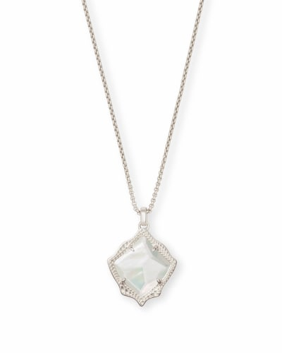 Kacey Silver Long Pendant Necklace in Ivory Pearl