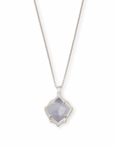 Kacey Silver Long Pendant Necklace in Slate Cats Eye