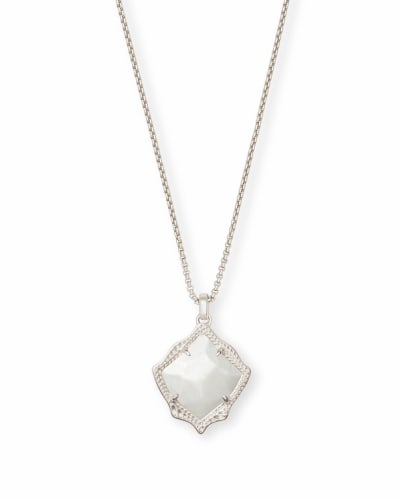 Kacey Silver Long Pendant Necklace in White Pearl