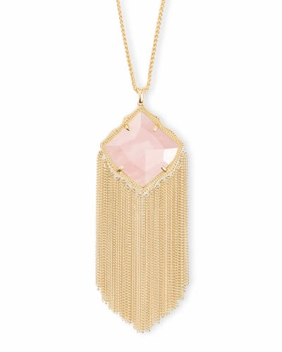 Kingston Gold Long Pendant Necklace in Rose Quartz