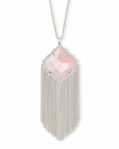 Kingston Silver Long Pendant Necklace in Rose Quartz