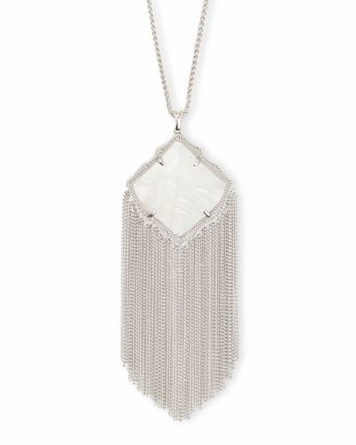 Kingston Silver Long Pendant Necklace in White Pearl