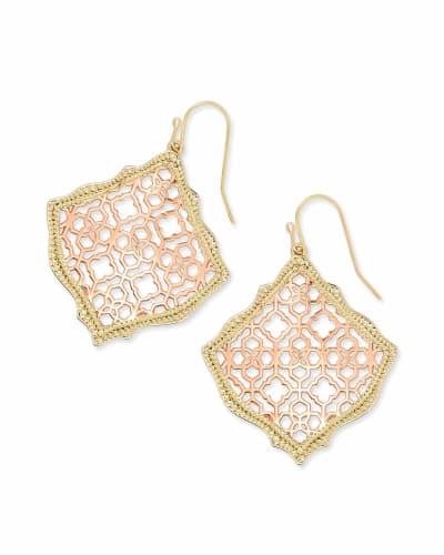 Kirsten Gold Drop Earrings in Rose Gold Filigree Mix