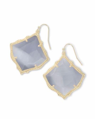 Kirsten Gold Drop Earrings in Slate Cats Eye