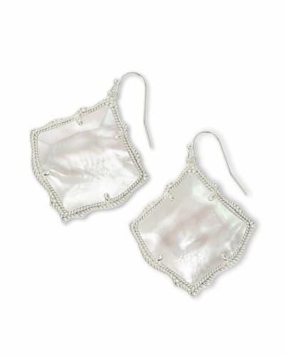 Kirsten Silver Drop Earring in Ivory Pearl